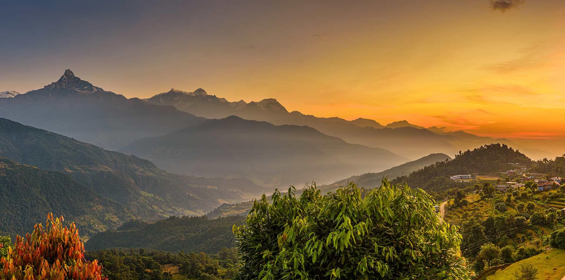 Nepal sunrise over Himalaya mountains