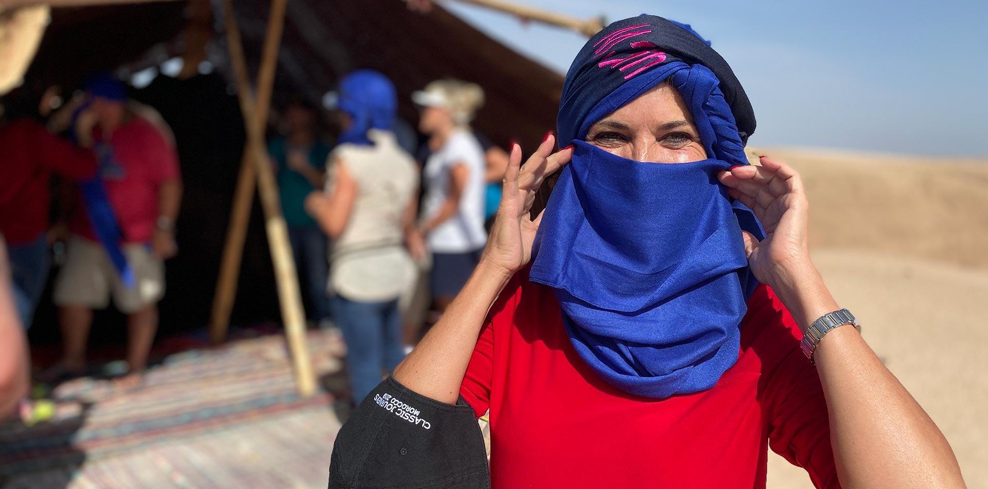 Woman wearing scarf