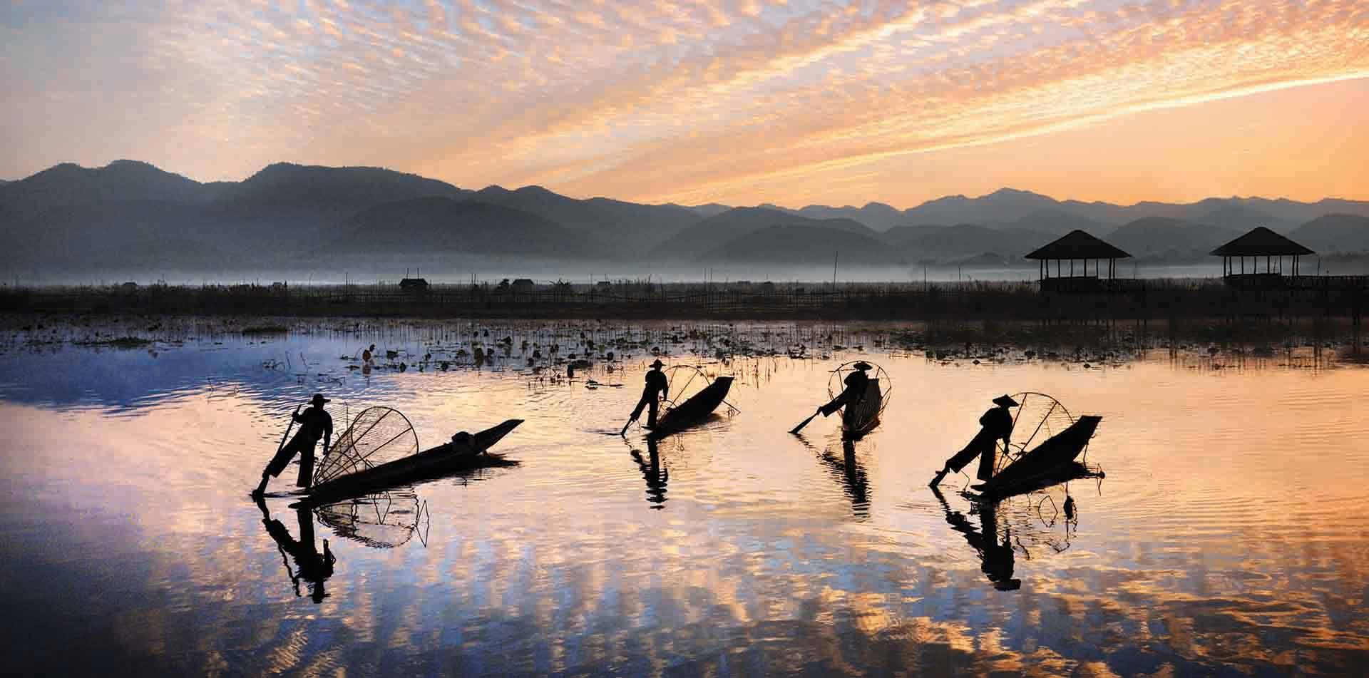 Fisherman Silhouettes at Inle Lake, Myanmar