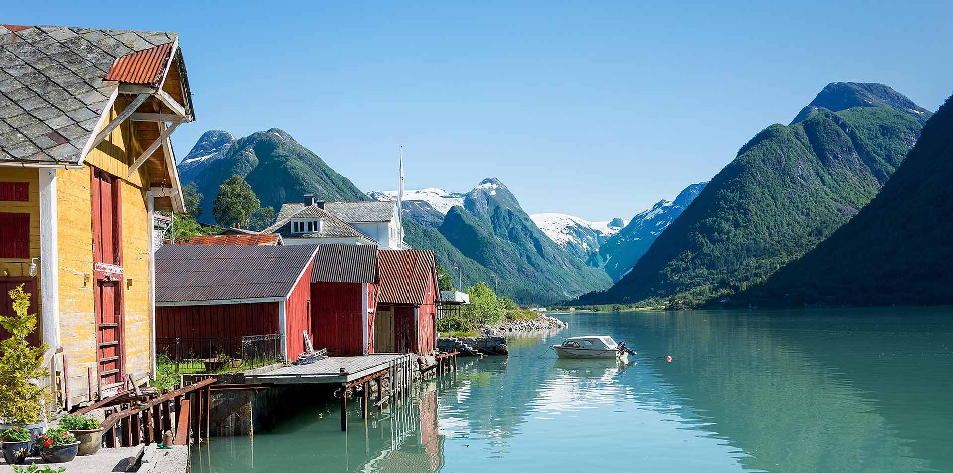 Village Alongside Fjord in Norway