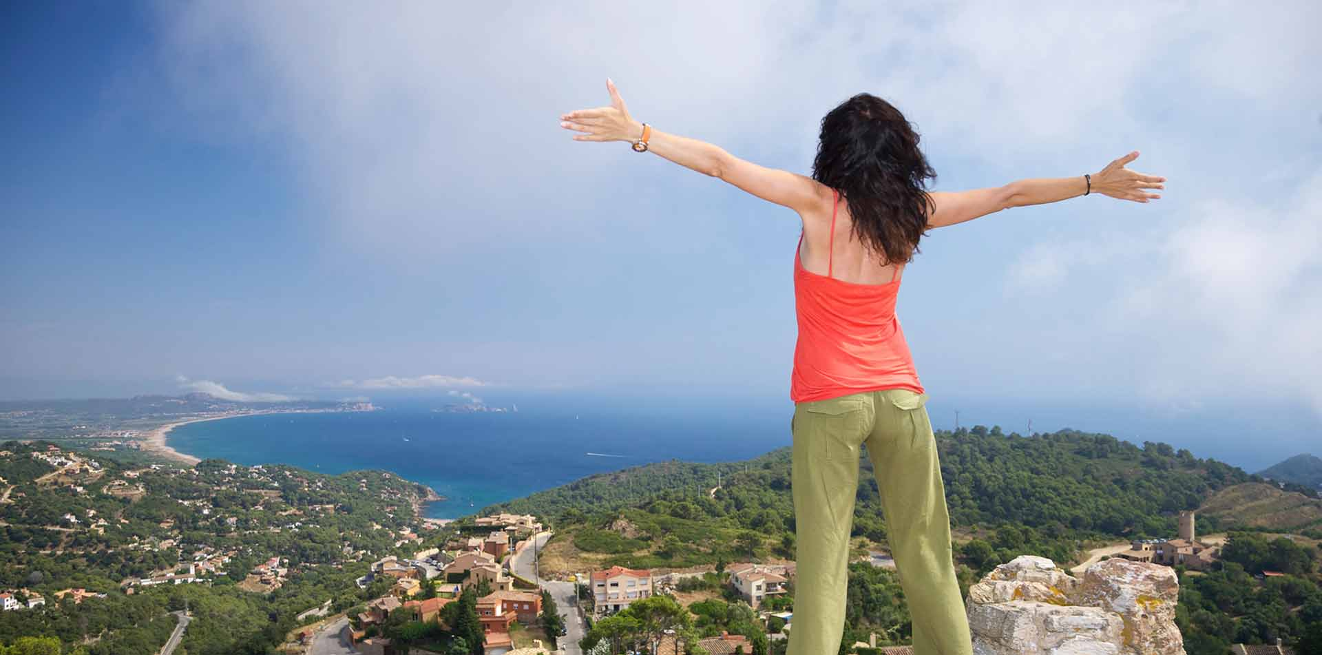 Woman with Outstretched Arms in Spain