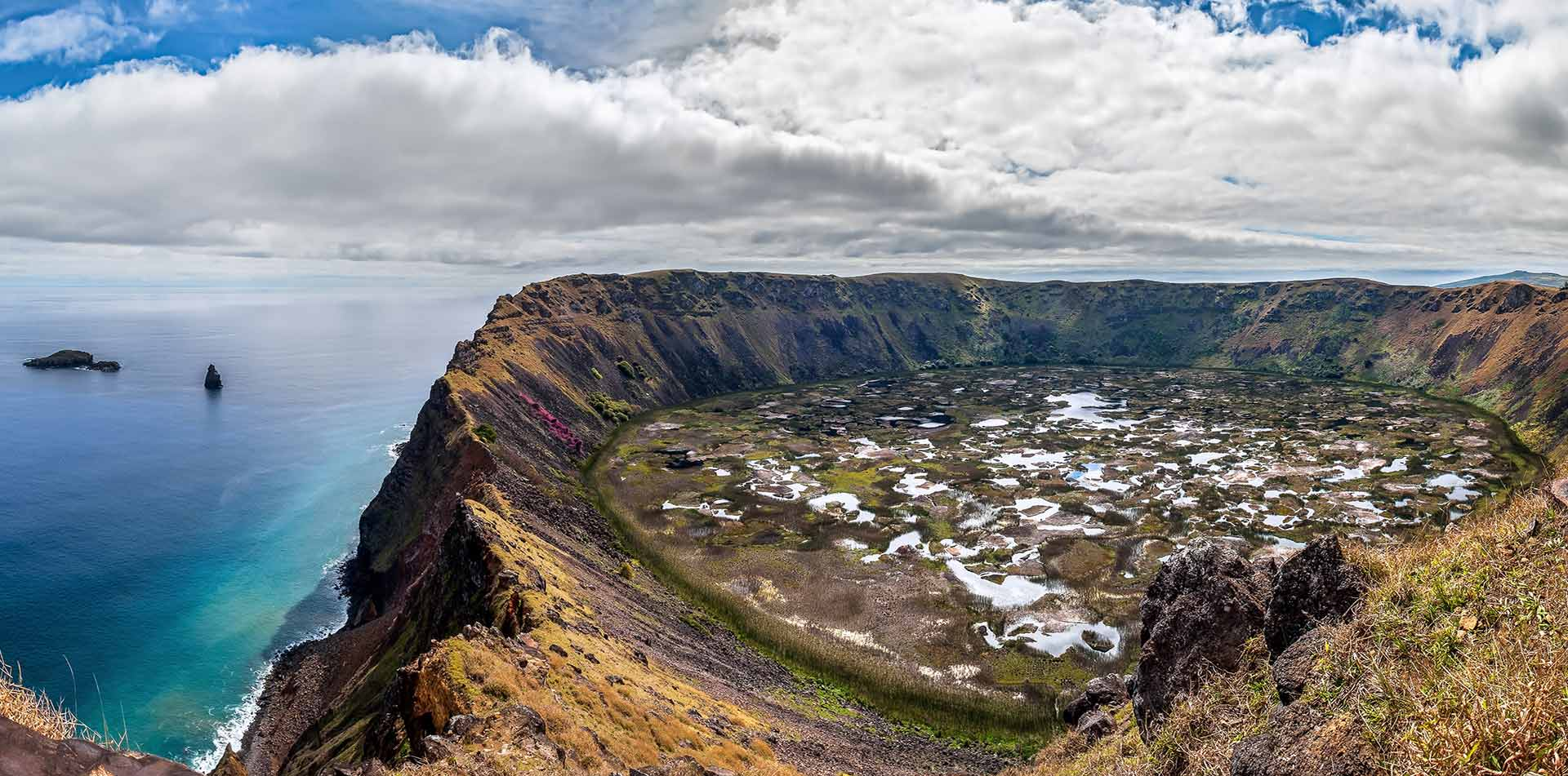Coastline and Crater of Rano Kau, Easter Island, Chile