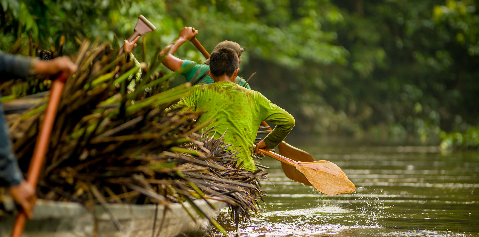 Canoe in Yasuni National Park in Ecuador