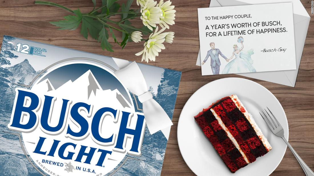 Busch is offering a year of free beer to couples whose weddings plans were changed due to coronavirus