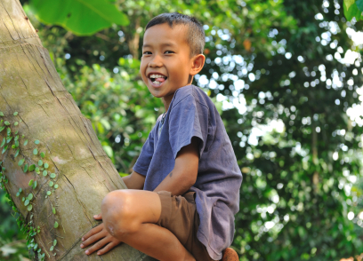 Children learn to climb trees as part of a disaster risk reduction plan