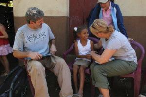 Dave and Deb Quilhot, ECC church members, meet their sponsored child in Nicaragua.