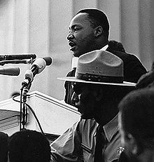 """Martin Luther King, Jr. delivering """"I Have a Dream"""" at the 1963 Washington, D.C., Civil Rights March."""