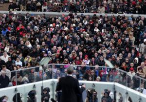 Attendees listen as President Obama speaks during the presidential inauguration. (Scott Eells / Bloomberg / January 21, 2013)