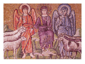 Painting of the parable of the good shepherd separating the sheep from the goats