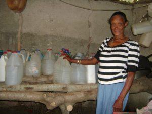 Josefina with water bottles