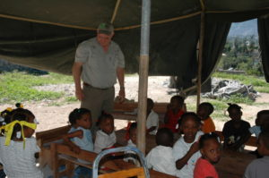 Children learning in a temporary FH classroom in Haiti
