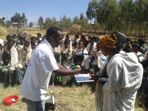 Mothers leaders in the USAID-funded maternal/child health program receive their certificates, for having completed our basic training in health, sanitation and nutrition