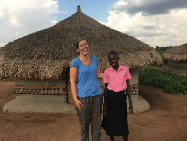 Katherine Anderson and her sponsored child in Uganda