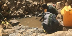 Woman gathering water from water hole