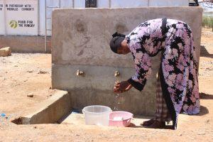 African woman collecting water at FH-supplied well