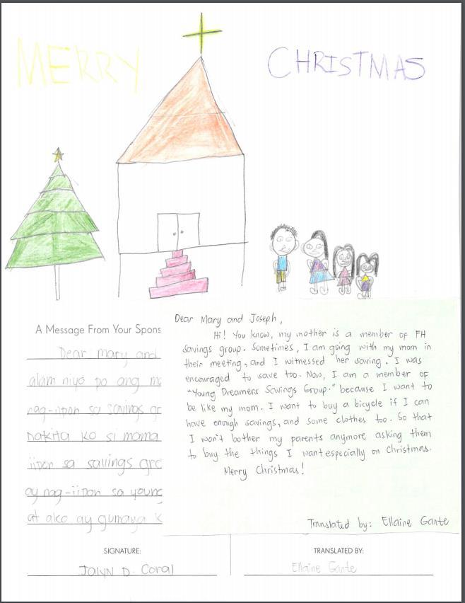 Child sponsorship letter