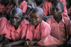 Students in Uganda Sitting in School