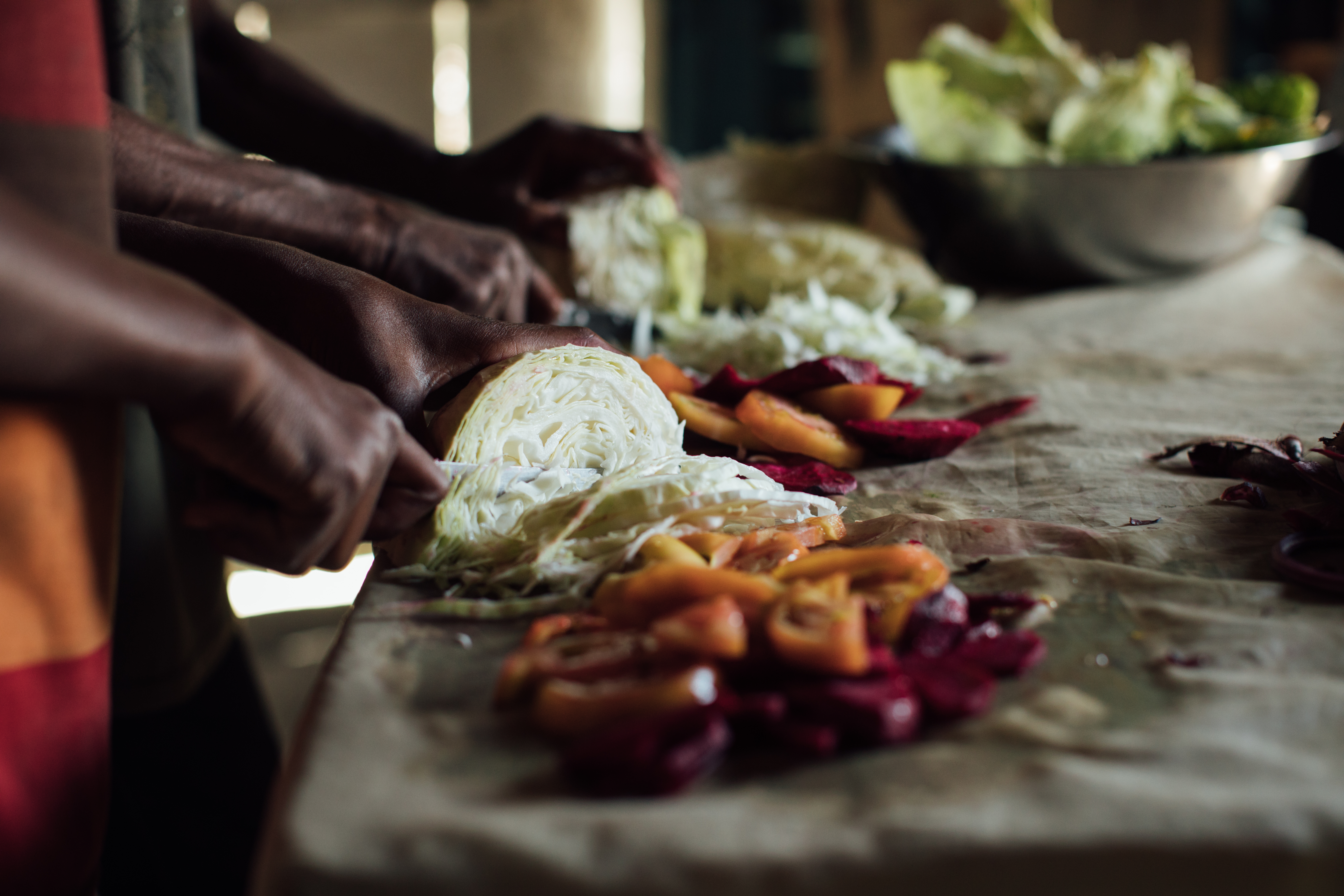 People chopping veggies and preparing food for cooking.