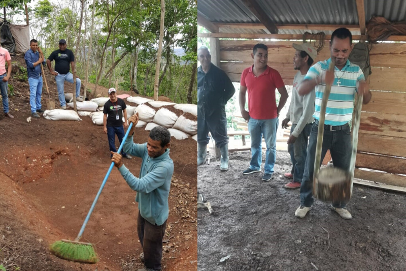 Group of Nicaraguan farmers build a home