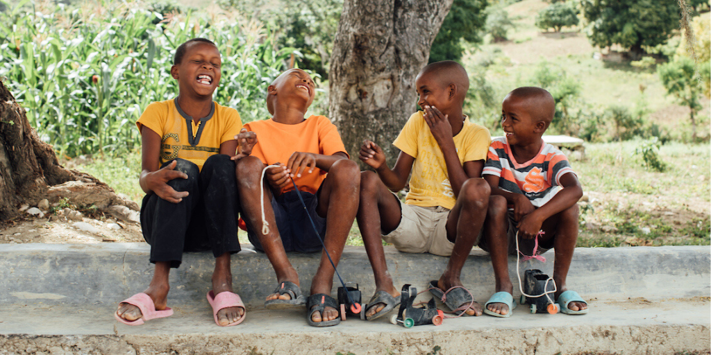 Children laugh together in the Dominican Republic.