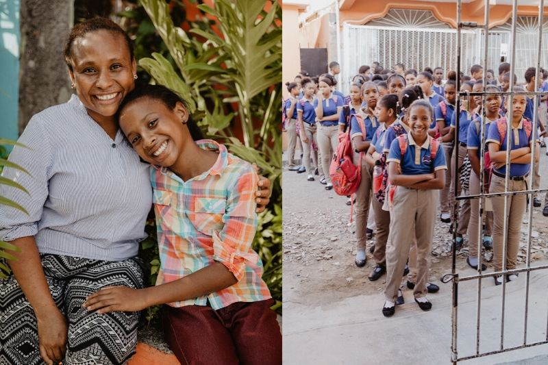 Dominican Republic mother hugs her child and child stands in line in uniform at school