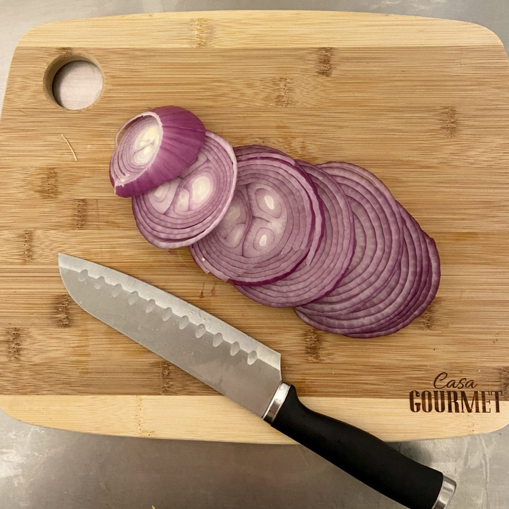 Chop your large red onion up into slices.
