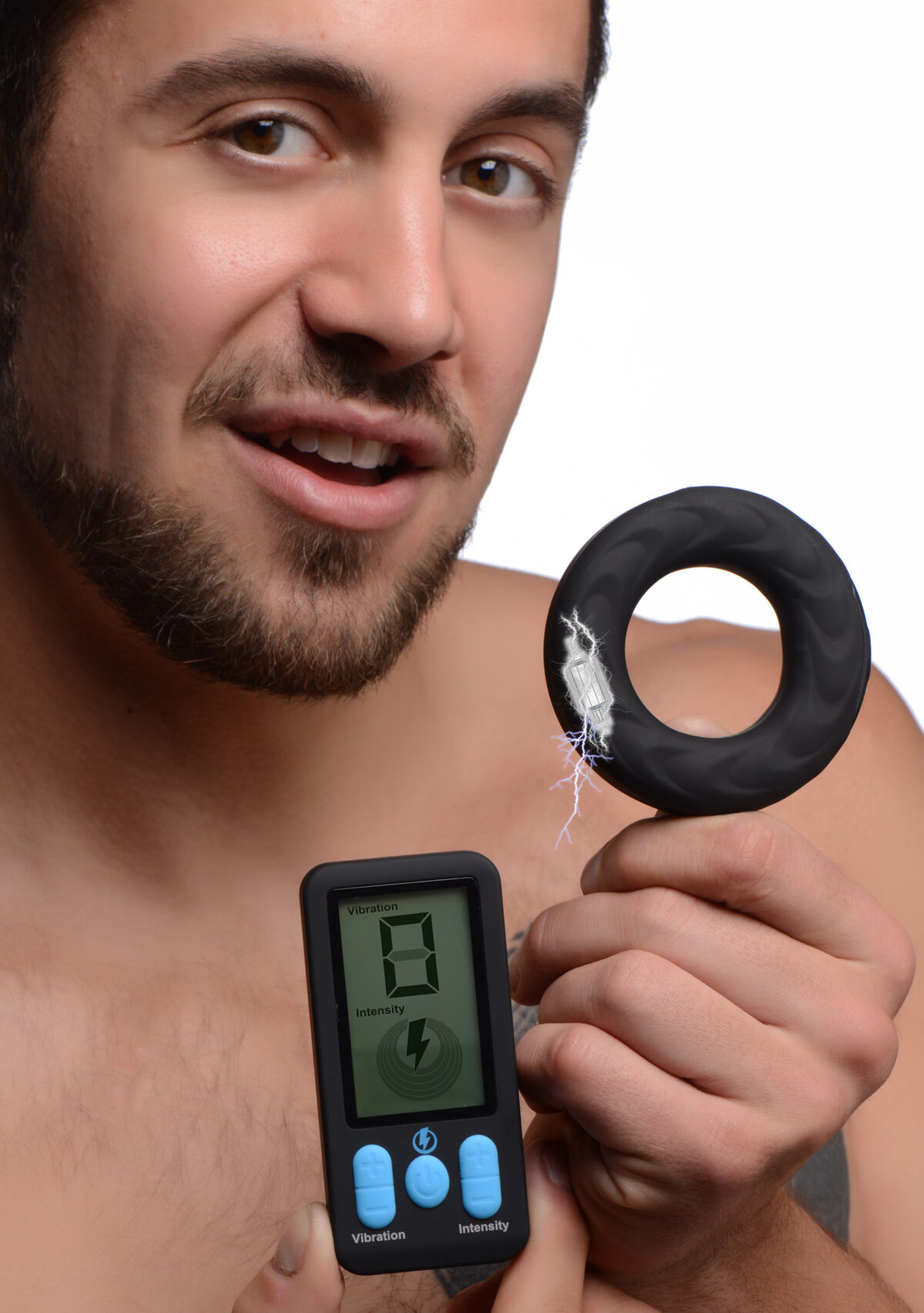 E-Stim Pro Silicone Vibrating Cock Ring with Remote Control - c295058f