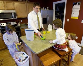 Getting the kids breakfast