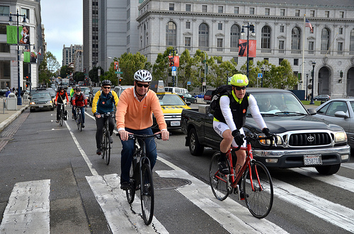 Bike to Work Day 2013. District 2 Supervisor Mark Farrell riding in to City Hall