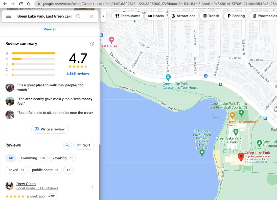 Google Maps Write a Review button