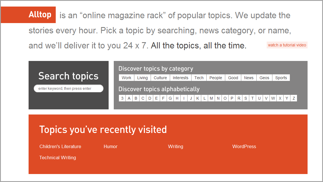 Alltop is similar to an online magazine rack