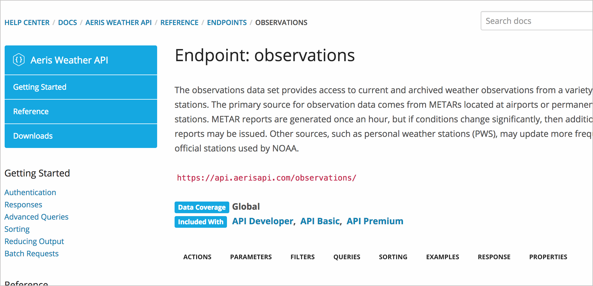 Aeris Weather observations resource