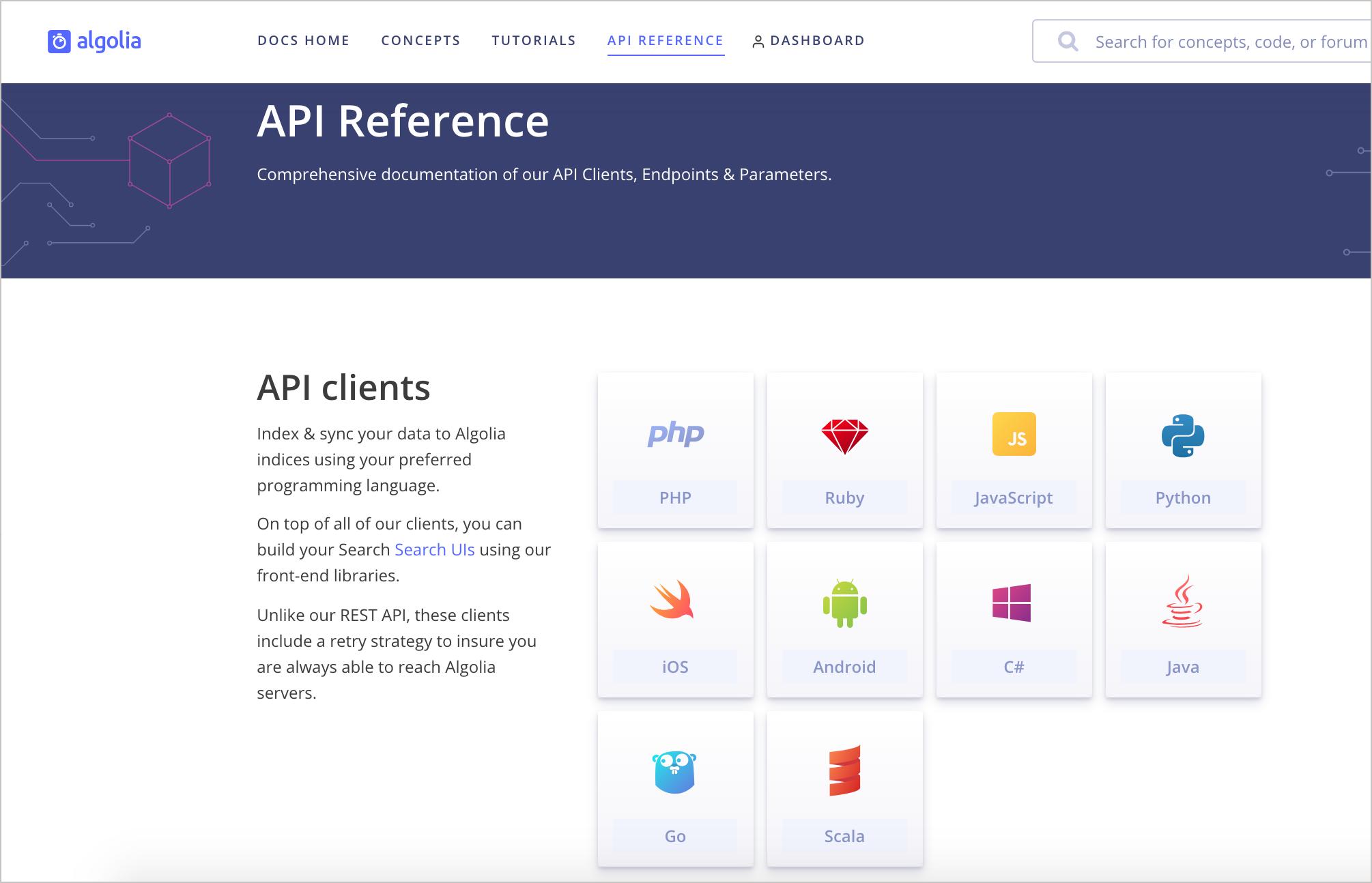Algolia client implementations