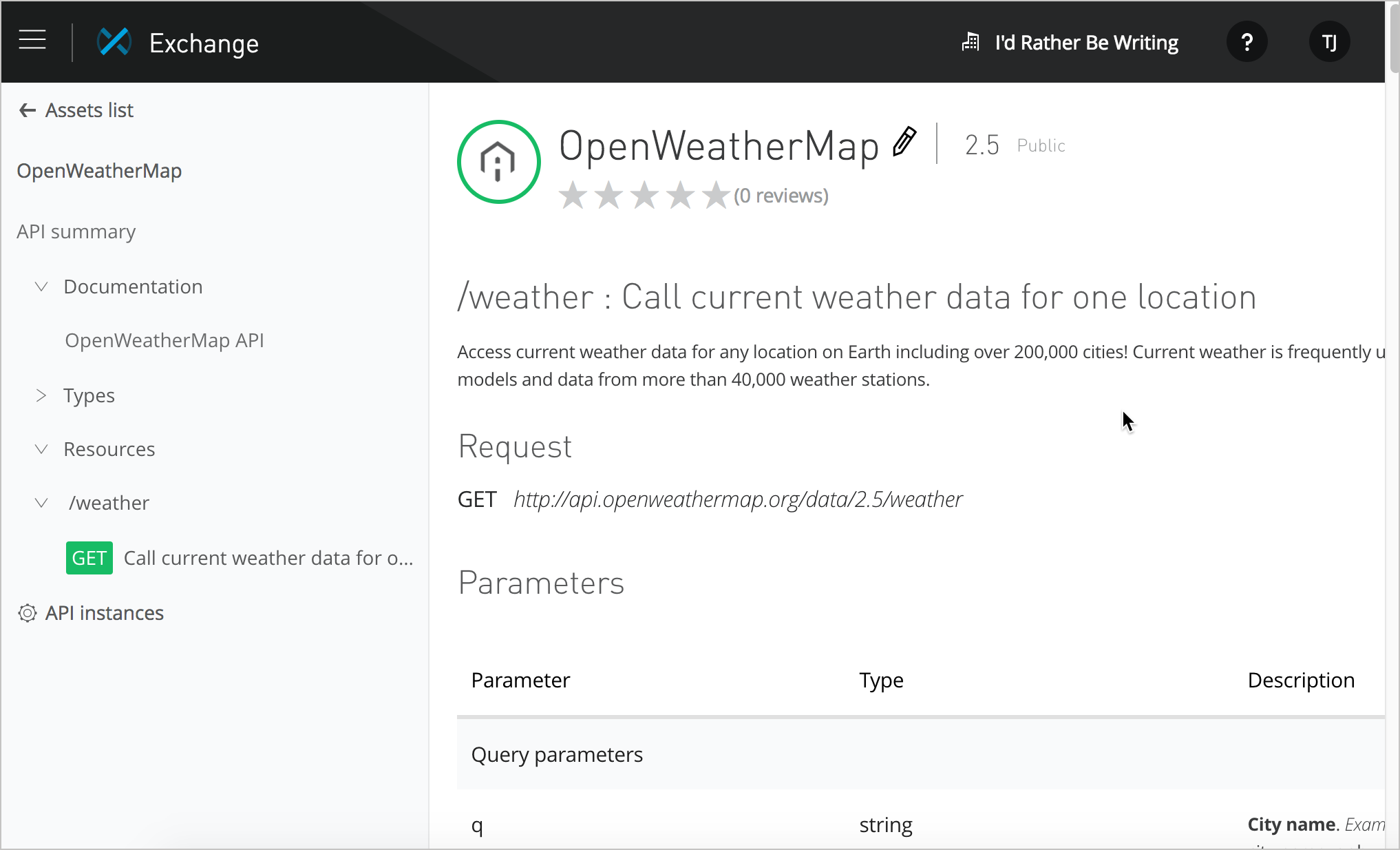 OpenWeather API documentation in Mulesoft's Anypoint Exchange