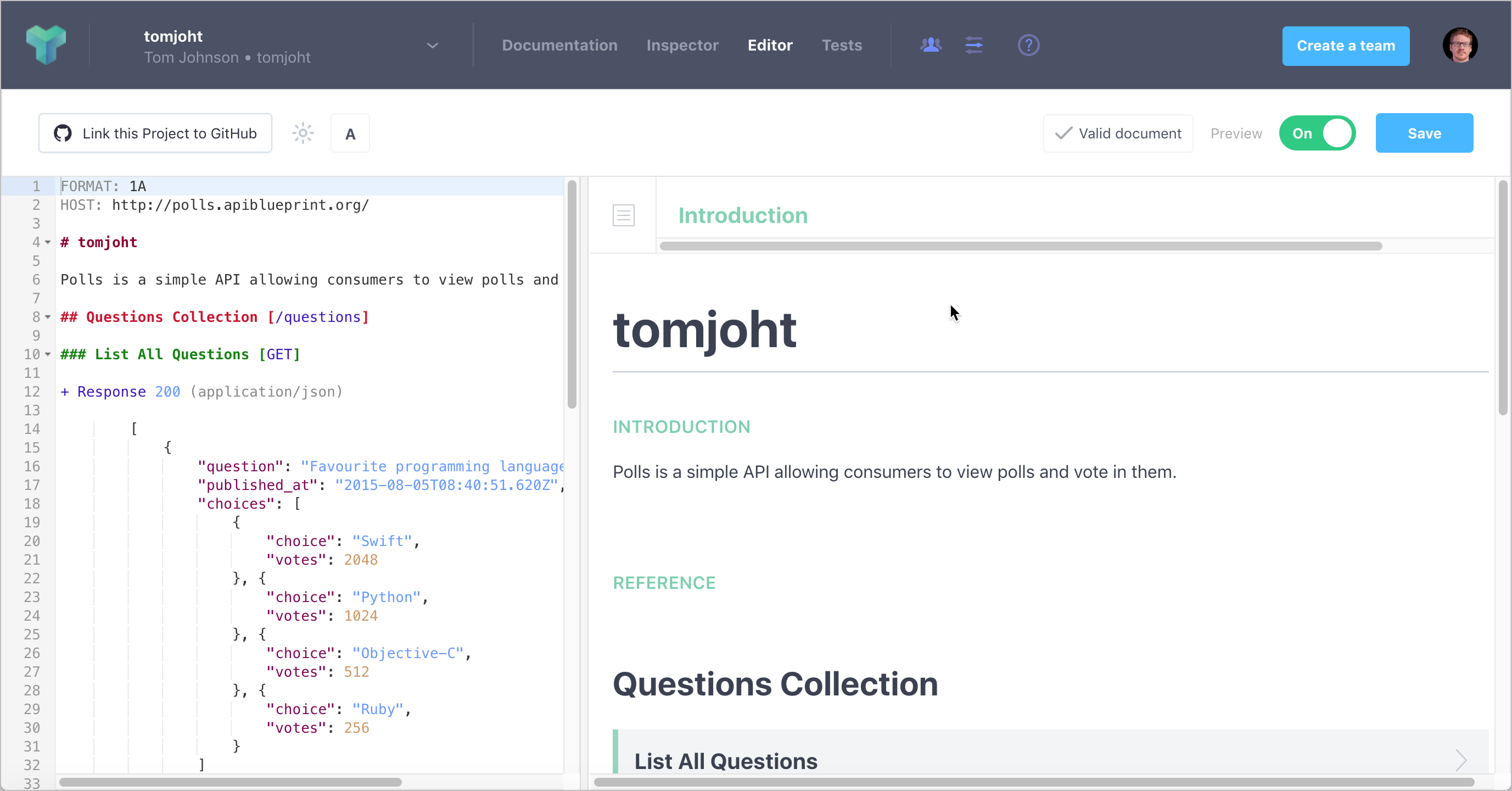 API Blueprint editor on Apiary