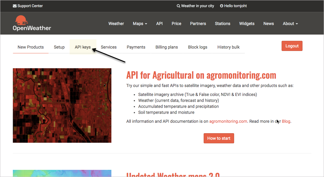 API Keys tab on OpenWeatherMap Developer Dashboard