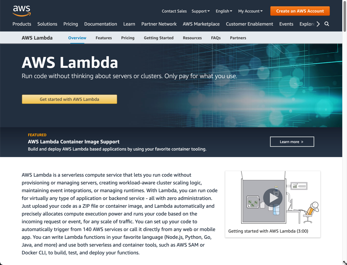 AWS Lambda product homepage
