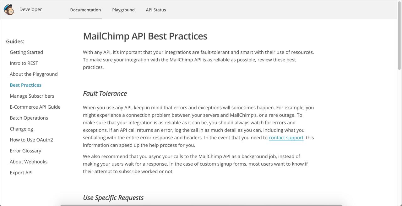 Mailchimp API best practices