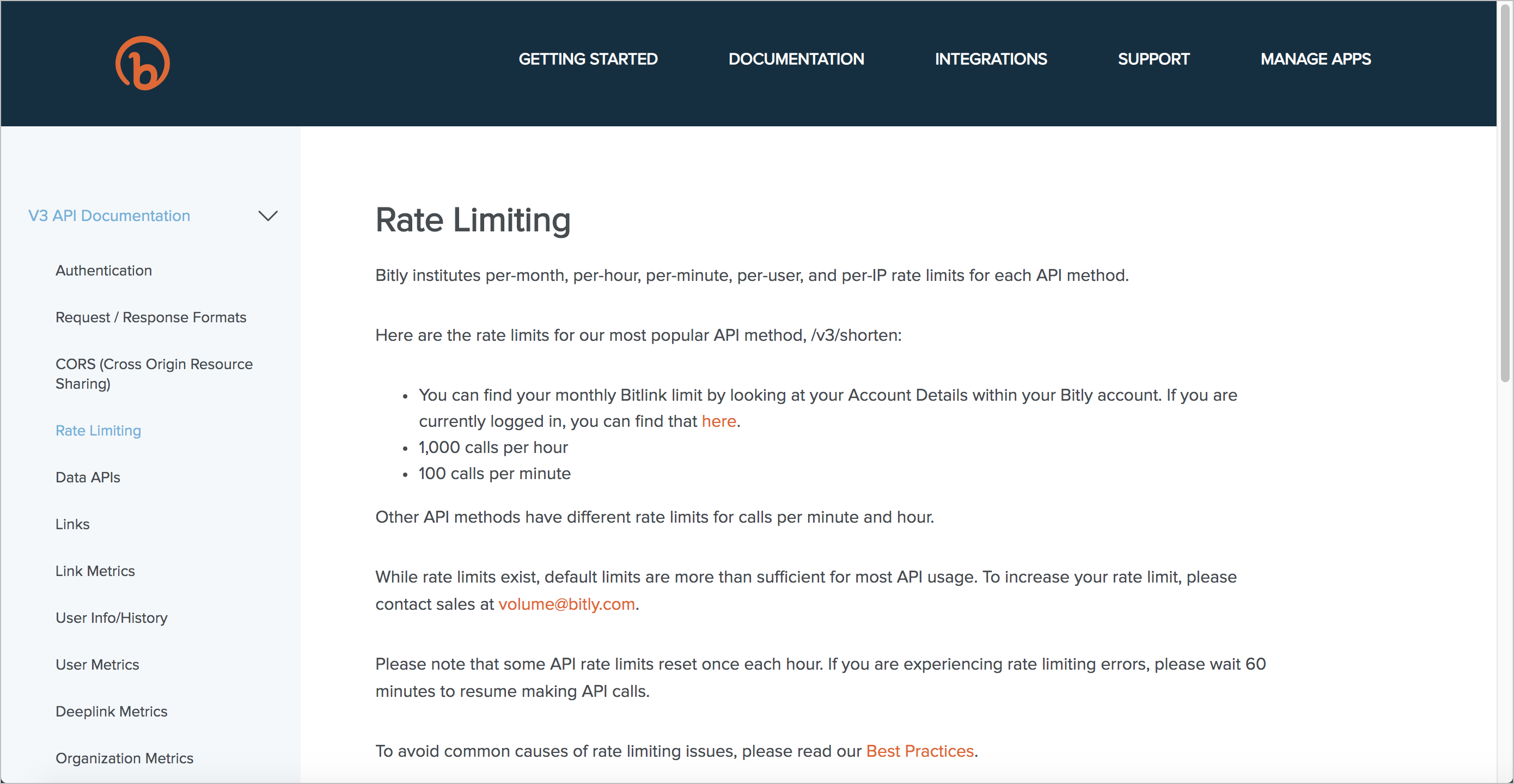 Bitly's rate limiting