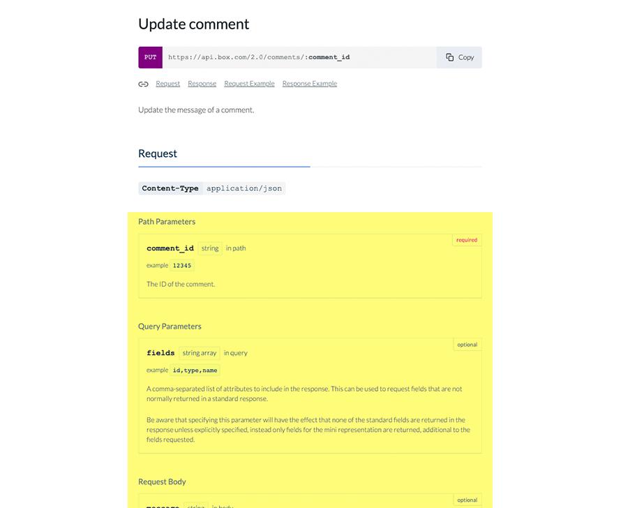 Sample parameters from Box API