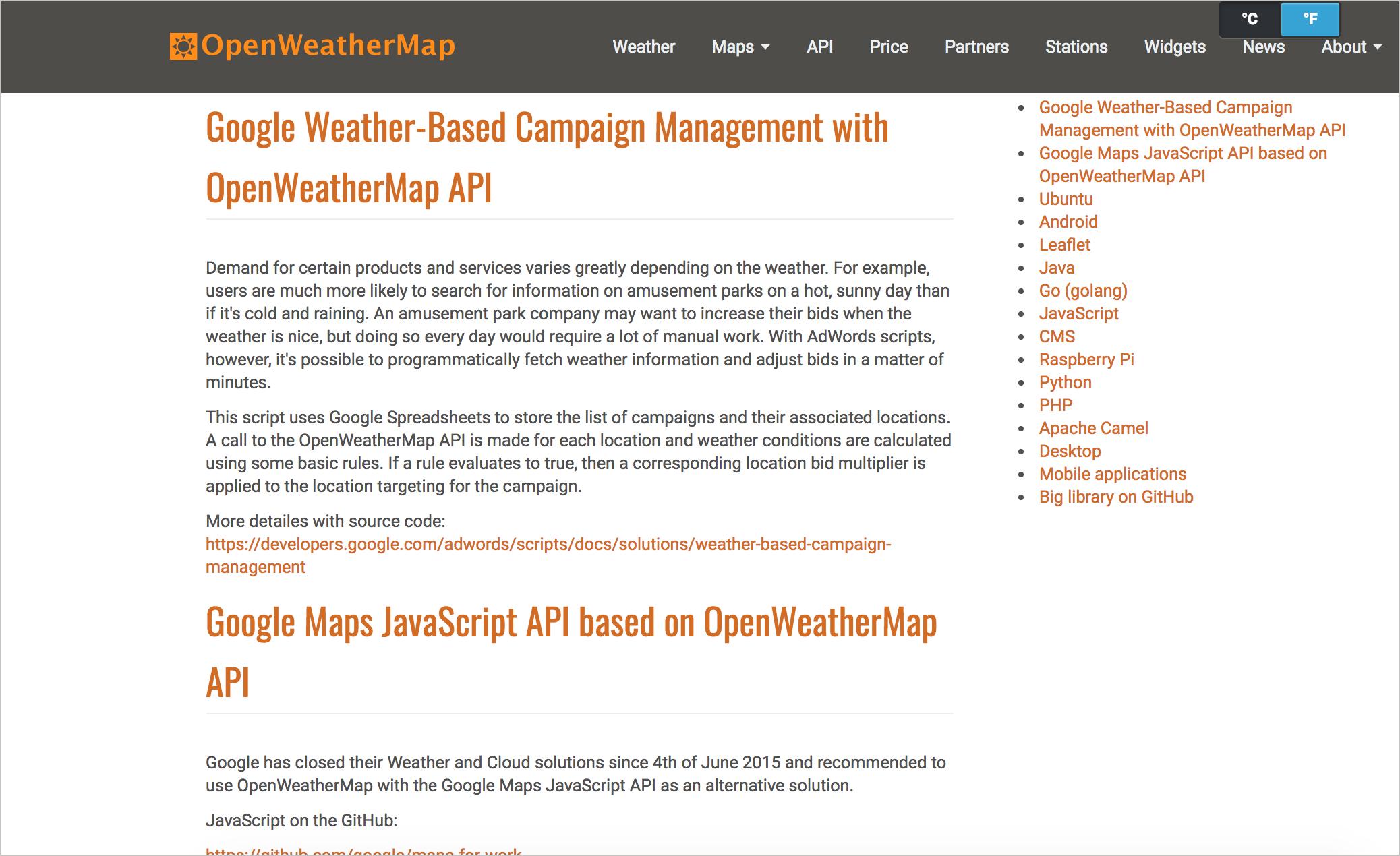 Code samples for OpenWeatherMap API