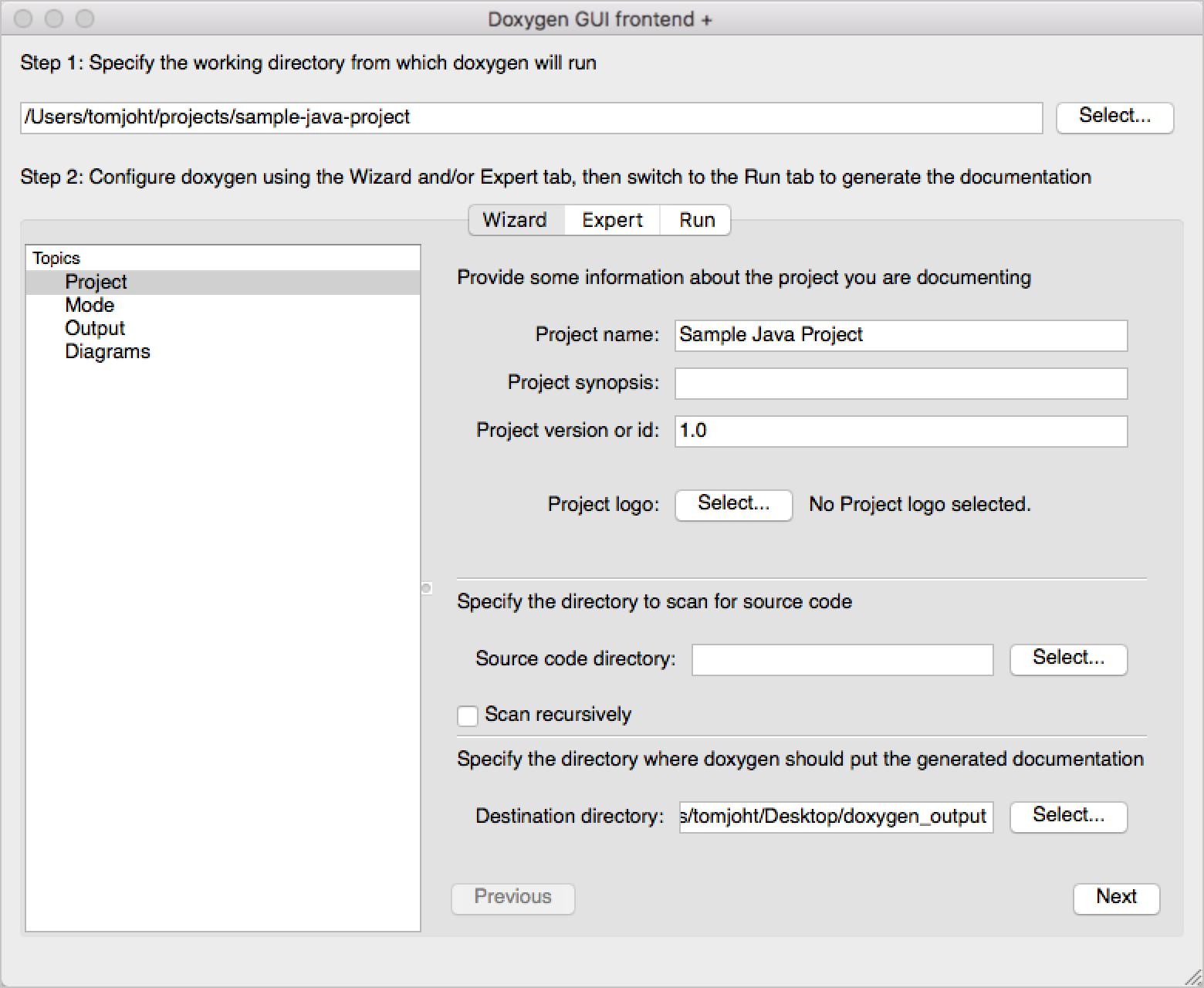 Doxygen front-end GUI generator