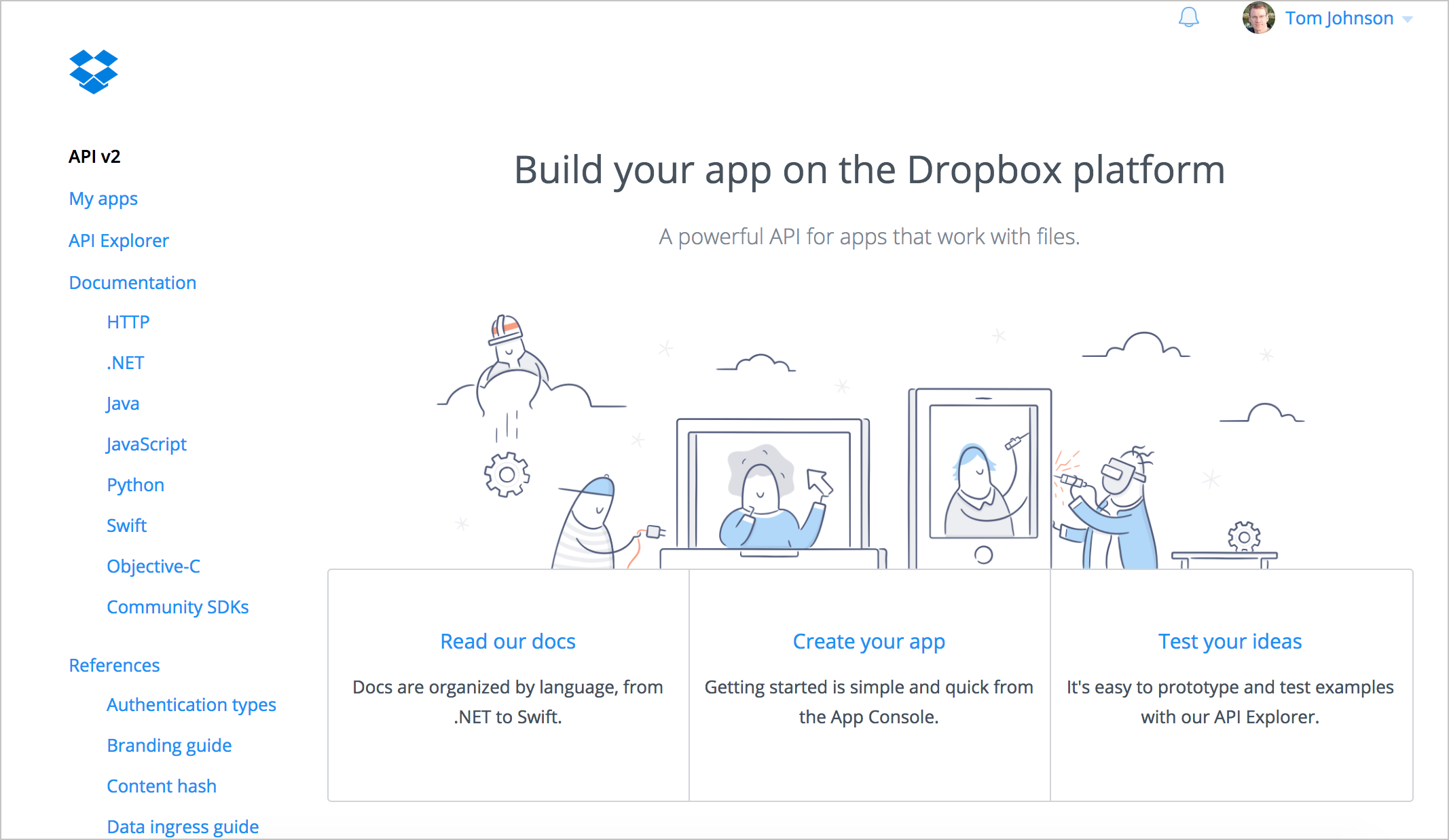 Dropbox API's developer site has a simple but clean UI