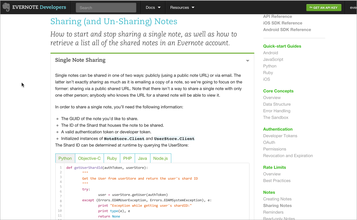 Evernote code examples