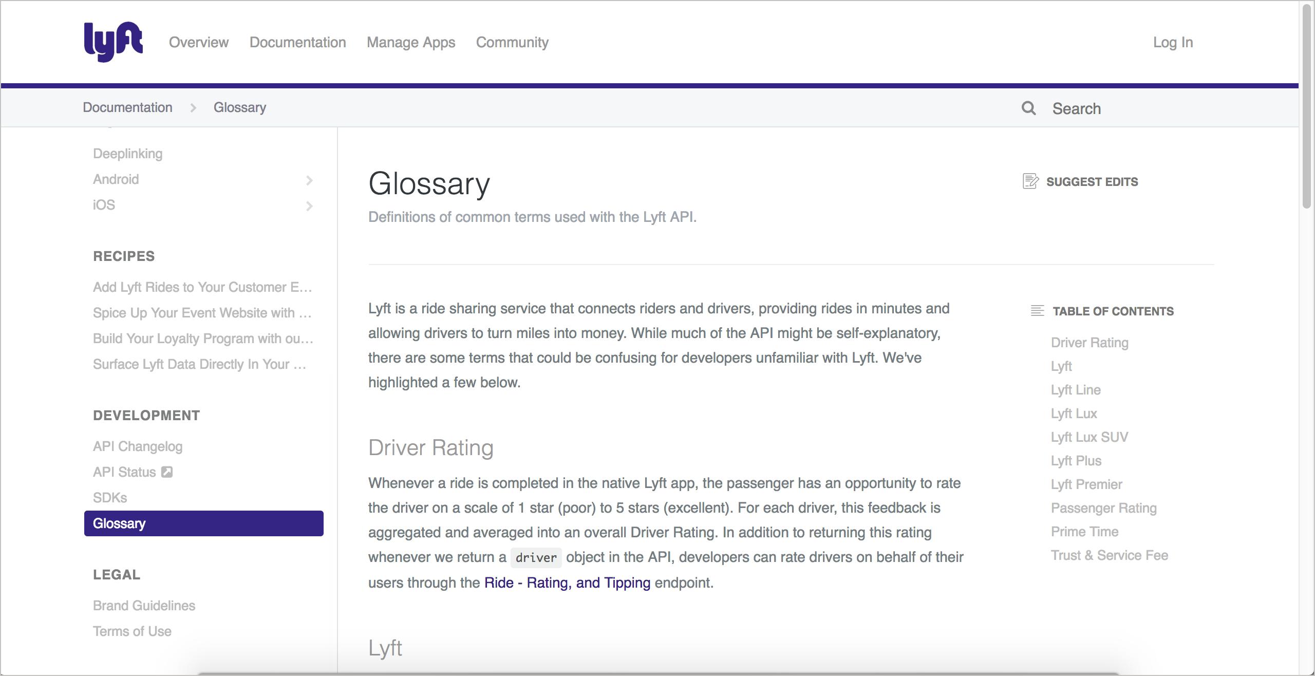 Lyft glossary