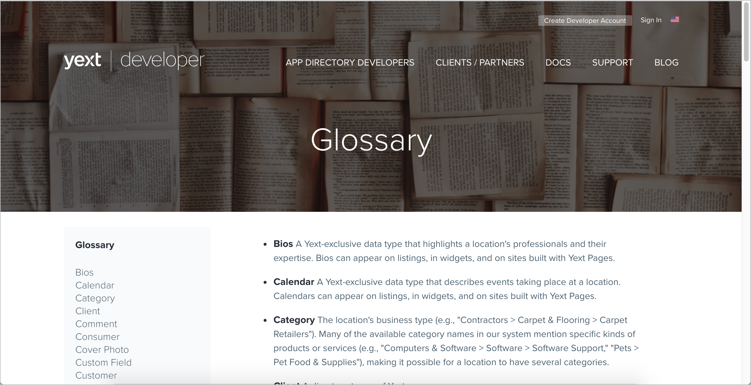 Yext glossary
