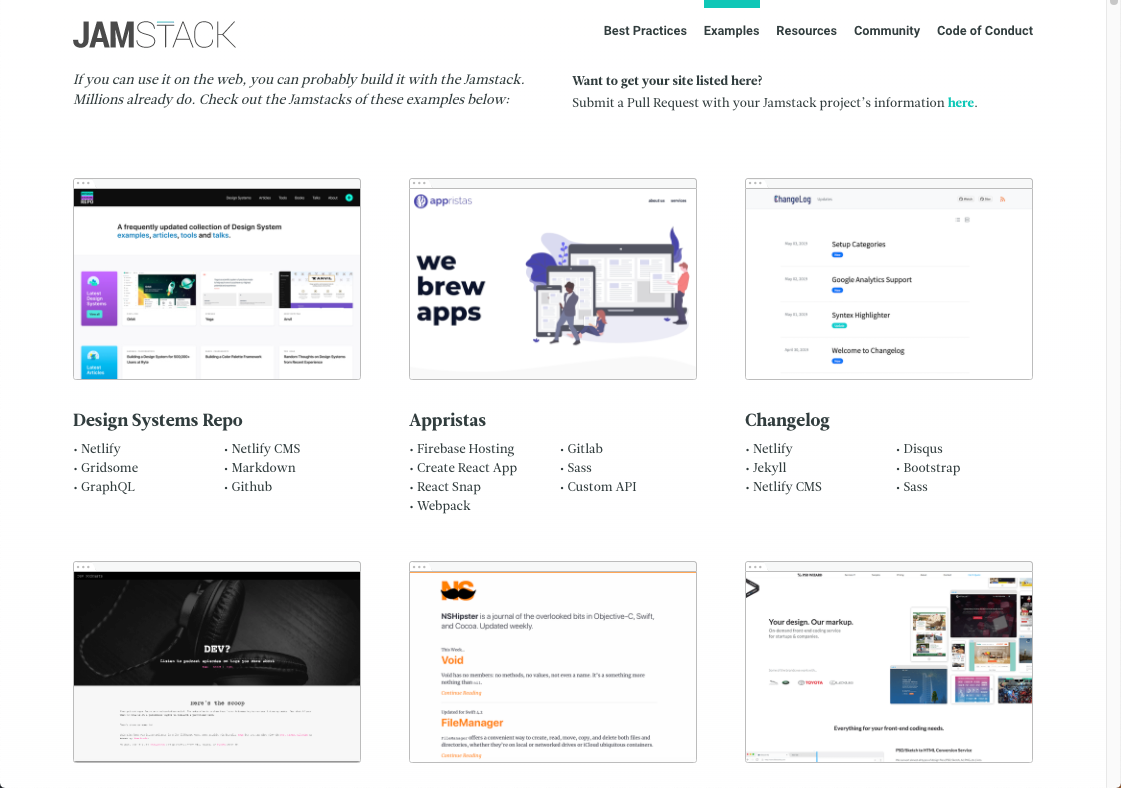 Jamstack examples