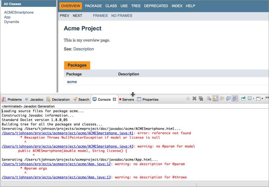 Javadoc error checking