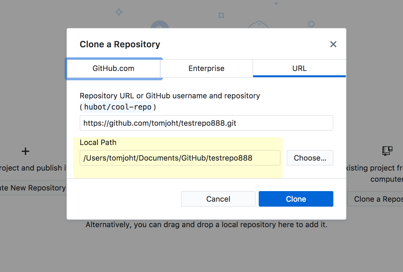 Selecting paths for the repo in GitHub Desktop