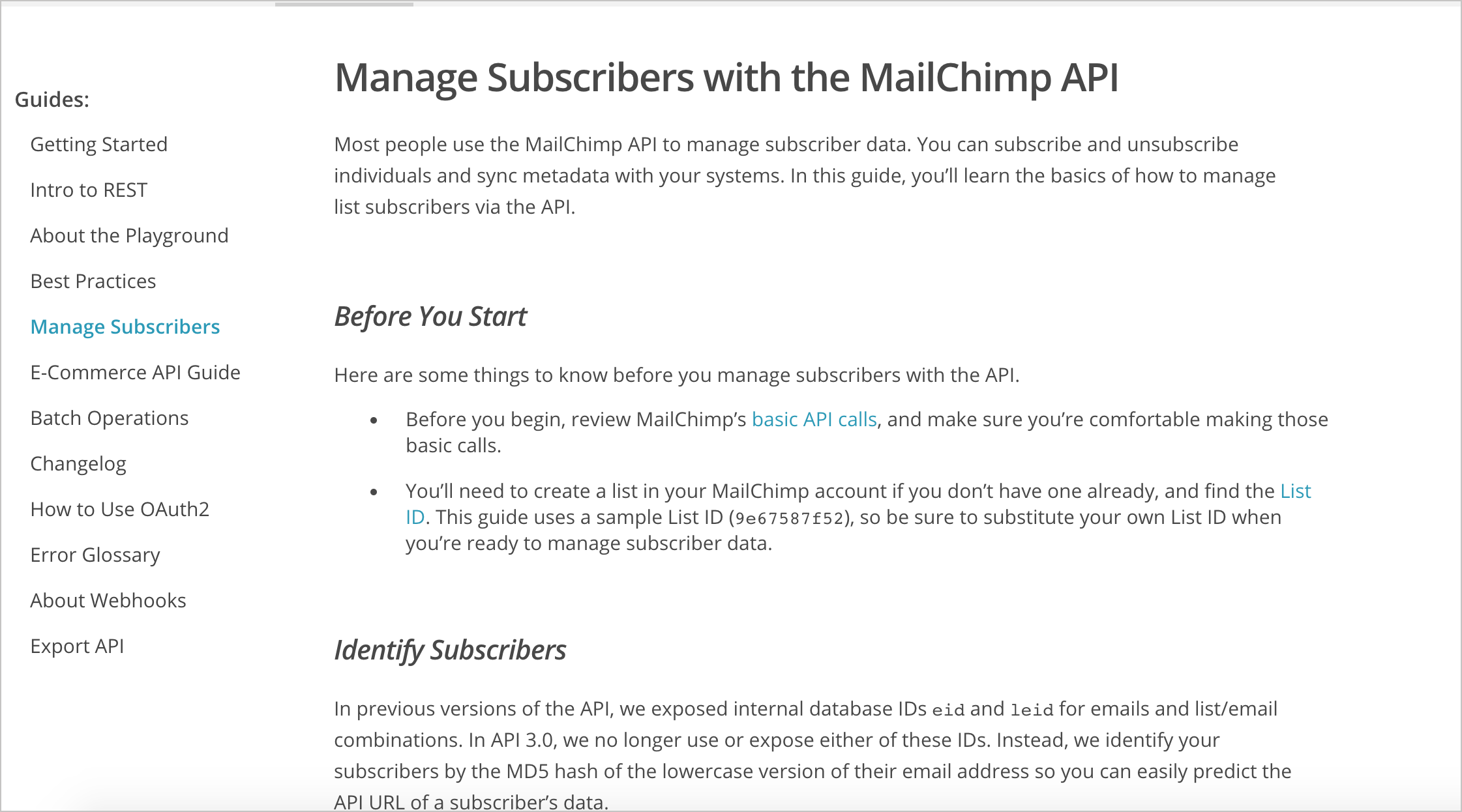Mailchimp code samples